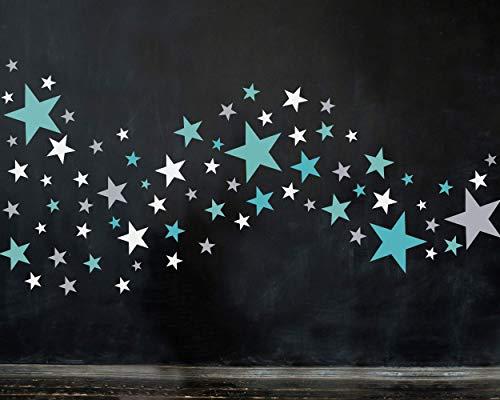 50 Sterne Wandtattoo fürs Kinderzimmer - Wandsticker Set - Pastell Farben, Baby Sternenhimmel zum Kleben Wandaufkleber Sticker Wanddeko - Wandfolie, Kleinkinder, Erstausstattung, Türkis - Grau