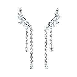 Angel's Wings Cubic Crystal Dangle Ear Cuff Climber