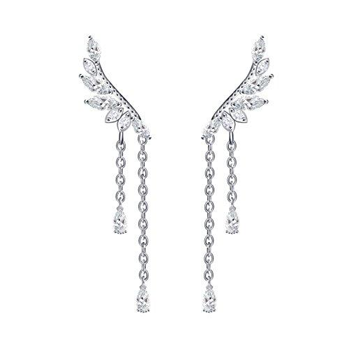 Quke, orecchini a forma di ali d'angelo, in argento sterling 925 con zirconi pendenti