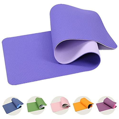 FUNLULU Tappetino da Yoga, Tappetino da Fitness Antiscivolo Ecologico in TPE, Tappetino da Ginnastica con Cinghie, Adatto per Esercizi di Yoga, Pilates E Ginnastica (183×61×0.6cm,Viola Blu)