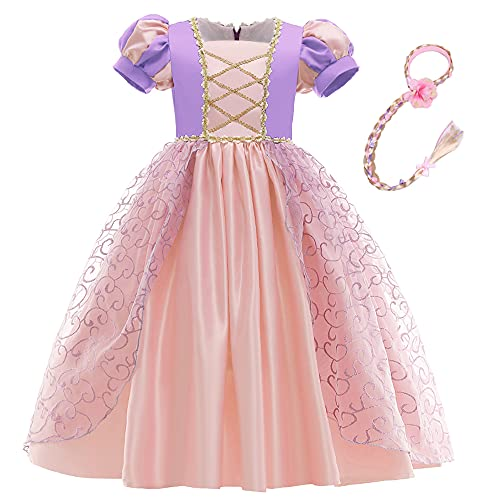Disfraz de princesa Rapunzel de encaje corto de encaje de manga abullonada vestido de cosplay de Halloween vestido de fiesta de cumpleaños con trenza (3 años, morado 2)