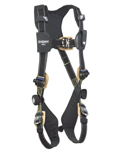 3M DBI-SALA ExoFit NEX 1103085 Nomex/Kevlar Full Body Harness, PVC Coated Alum Back D-Ring, Comfort Padding, Locking Quick Connect Buckle Leg Straps, Small, Black