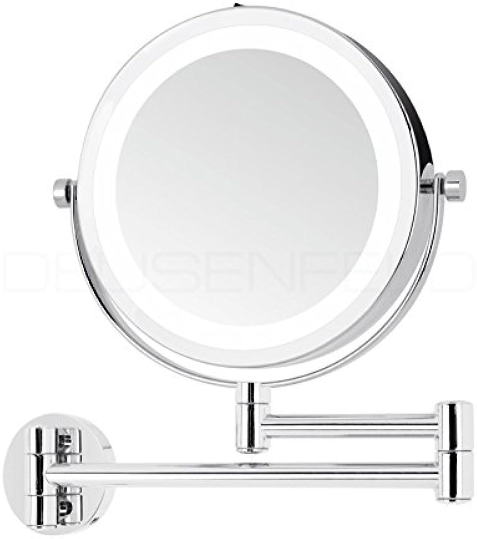DEUSENFELD WL5CB - Batterie LED Doppel Wand Kosmetikspiegel, 5X Vergrerung + Normalspiegel, 17,5cm, 360° Grünikal und horizontal schwenkbar, 35 SMD Tageslicht LEDs, Metall verchromt, Modell 2019