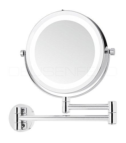 DEUSENFELD WL7CB - Batterie LED Doppel Wand Kosmetikspiegel, 7X Vergrößerung + Normalspiegel, Ø17,5cm, 360° vertikal und horizontal schwenkbar, 35 SMD Tageslicht LEDs, Metall verchromt, Modell 2019