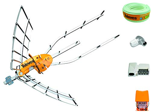TECNOVOZ Kit Nueva Antena TELEVES Ellipse + Amplificador 24 dB + Rollo...