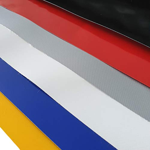 w-mtools LKW Plane Meterware PVC-Plane 680g/m² - 300cm/ 3m - Rollenware ohne Ösen, Schwarz, Silber, Weiß, Blau, Gelb, Rot - Gewebeplane Abdeckplane Schutzplane Industrie (Blau, RAL 5017)