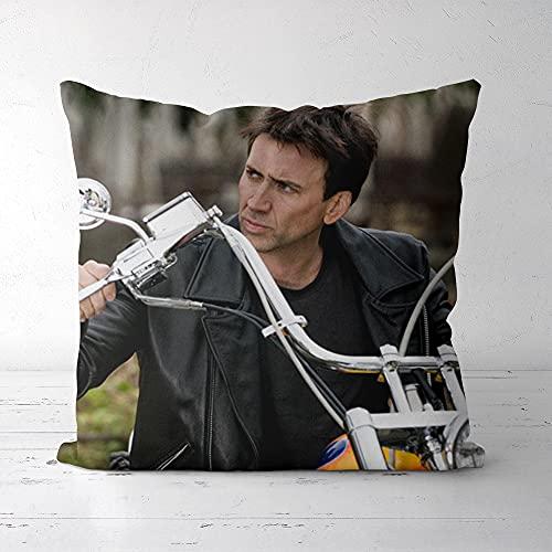Almohada Funda de cojín Funda de Almohada Cuadrada Nicolas Cage Star Poster Lisi Velvet Inicio Dormitorio Sala de Estar Regalos Decorativos Funda de Almohada Cuadrada 40x40cm