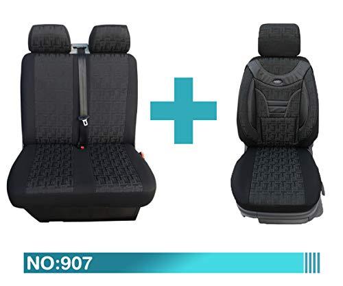 Maß Sitzbezüge kompatibel mit Fiat Ducato Typ 250 Facelift 1+2 Fahrer mit Doppelsitzbank ab BJ 2014 Farbnummer: 907