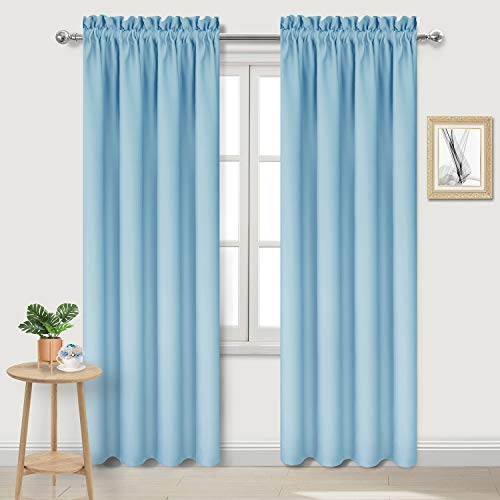 DWCN Blackout Curtains for Bedroom – Thermal Insulated Room Darkening Drapes for Living Room, Light Blue, W 42 x L 84 Inch, Set of 2 Rod Pocket Curtain Panels