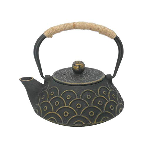 InnoLife Cast Retro Classic Iron Teapot Kettle With Stainless Steel Infuser 900ml30oz(Fish scale)