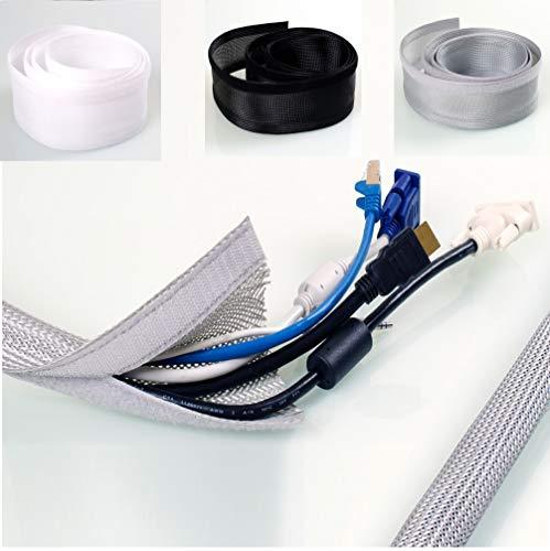 KabelOrdnung – Klett-Gewebeschlauch | schwarz | Länge 2m | 32mm Nennweite | flexibler Geflechtschlauch mit Klett-Verschluss, dehnbar | Kabelbündelung für 3–8 Kabel