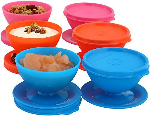 Milton Homery - Juego de 6 tazas de postre con tapa para parfait, postres, pudín, aperitivos, ensaladas y más, reutilizables, duraderas, sin BPA