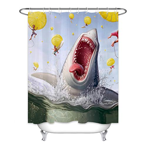 HVEST Funny Shark Shower Curtain Jaws Kraken Sea Monster Ocean Nautical Cool Animal Beach Theme Bathroom Curtain Decor for Kids Children Curtain with 10 Hooks 60X72 Inches Waterproof Plastic Fabric
