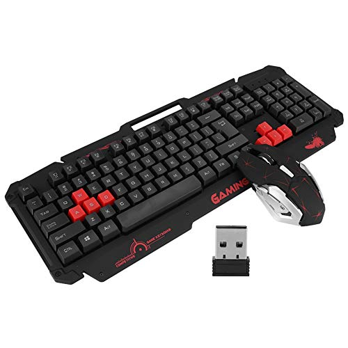 Keyboard Mouse Combo, HK1868 10M Wireless Transmission 2.4G 104Keys High Sensitivity Gaming Keyboard Mouse Set for PC, Computer, Desktop, Laptop(Black)