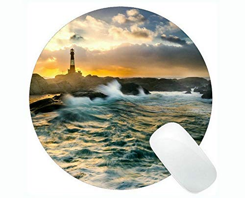 Yanteng Round Mouse mat,Lighthouse Sea Cliffs Water Away Road Mouse Pads