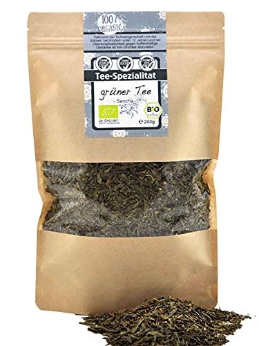 direct&friendly Bio Sencha Grüner Tee loser Grünetee feinherb aromatisch 200g im wiederverschließbaren Aromabeutel