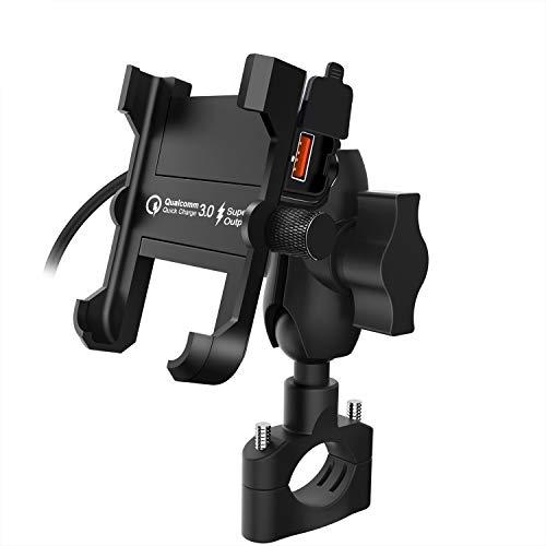 Kriogor Soporte Móviles Moto de Montaje Aluminio con QC 3.0 Cargador USB Toma para Bicicleta Teléfono Móvil de 4 a 6.5 Pulgadas Dos Métodos de Instalación