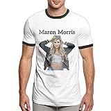 LIIREN Raw Cotton Maren Morris Photo Contrast Tee for Men's Tshirts Slim Black XL
