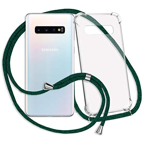 Preisvergleich Produktbild mtb more energy® Handykette kompatibel mit Samsung Galaxy S10 (SM-G973,  6.1'') - dunkelgrün - Smartphone Hülle zum Umhängen - Anti Shock Strong TPU Case
