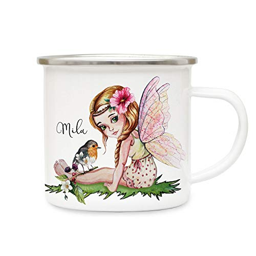 ilka parey wandtattoo-welt Emaillebecher mit Elfe Fee Vogel & Name Wunschname Campingtasse Elfen Kaffeetasse Geschenk eb262