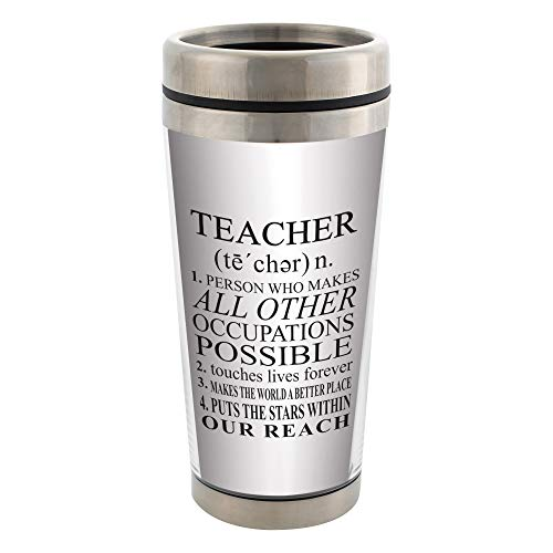 Elanze Designs Teacher Definition White 16 Ounce Stainless Steel Travel Mug with Lid