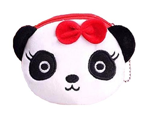 Kids Zoo Cartoon Novelty Plush Zipper Coin Purse Mini Wallet with Keychain, Various Themes Available, Ships from U.S (Panda)
