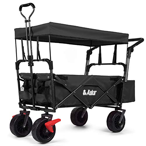unknown folding wagons AUKAR Heavy Duty Collapsible Folding Wagon Utility Outdoor Garden Cart with 7