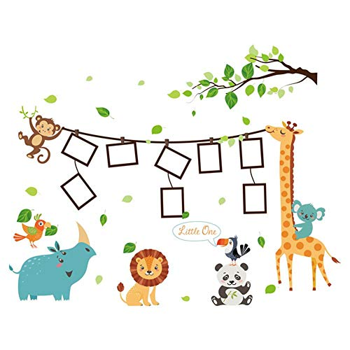Seasaleshop Muursticker voor de woonkamer, slaapkamer, decoratieve stickers van pvc, cartoon, dierenstijl, fotolijst, kinderslaapkamer, decoratieve muursticker