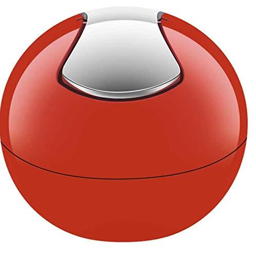 Spirella 10.14967 Kosmetikeimer 1 Liter Abfalleimer Schwingdeckeleimer Tischabfalleimer Bowl Rot