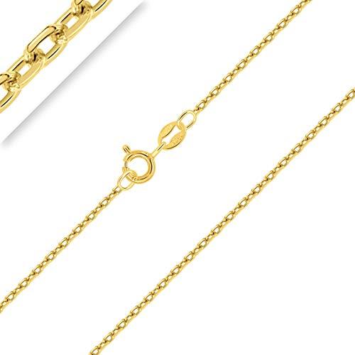 PLANETYS - Cadena de Plata de Ley 925 Chapado en Oro 18K para Niños o Bebé Malla Forzada Diamantada 1.5 mm de ancho 32 cm de longitud