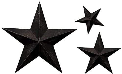 Bellaa 21482 Star Outdoor Decor Metal Wall Art Barn Rustic Set 24 inch 18 inch 12 inch Black
