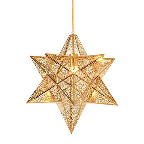 CSD Nordic posmoderna Pentagram Comedor lámpara de la sala de estar dormitorio de la lámpara de la personalidad de acero inoxidable de la lámpara creativa