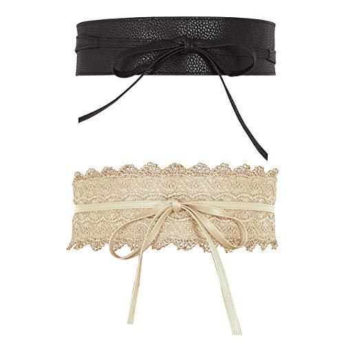 CHIC DIARY 2 Stück Taillengürtel Damen Bindegürtel Wickelgürtel Hüftgürtel Breit Gürtel für Kleider aus PU Leder/Spitze (Schwarz/Beige)