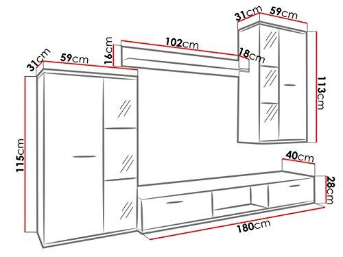 Wohnwand – Moderne Mediawand in schwarz/weiß Bild 2*