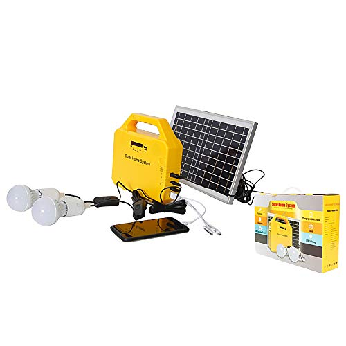 3w/6w/10w Solar Mobile Light System, Foldable Panel Solar Home System Kit, with Charge Controller and Bluetooth for Camping