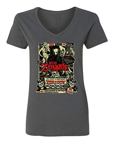 RIVEBELLA New Graphic Horror Movie Novelty Tee Zombie Dead Return Womens Vneck T-Shirt (Charcoal, XL)