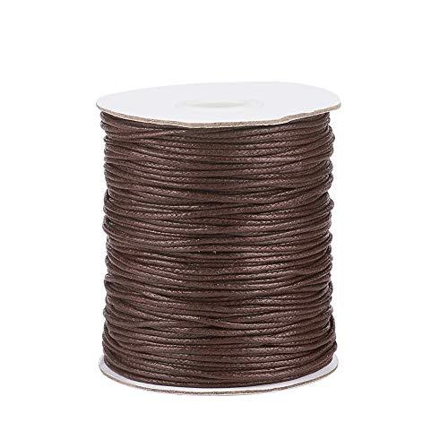 Craftdady Cuerda de algodón encerado trenzado de 1,5 mm, cuerda de hilo de imitación de cuero con carrete para manualidades, collar, pulsera, joyería, color marrón