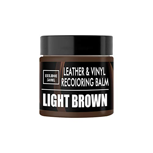 Leather Repair Cream for Furniture Sofa Car Seats Boots, 2PCS Dark Brown Leather Recoloring Balm with Accessory Kit Light Brown #02
