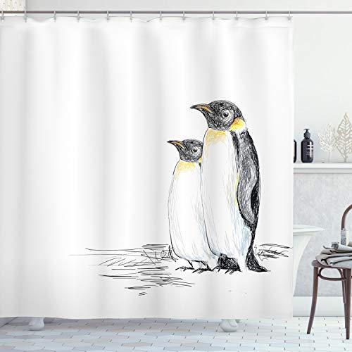 ABAKUHAUS Tier Duschvorhang, Hand gezeichnete Pinguine Art, mit 12 Ringe Set Wasserdicht Stielvoll Modern Farbfest & Schimmel Resistent, 175x240 cm, Weiß Schwarz