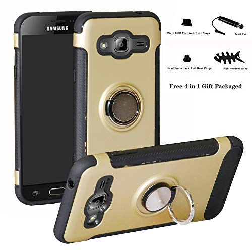 Labanema Galaxy J3 2016 Funda, 360 Rotating Ring Grip Stand Holder Capa TPU + PC Shockproof Anti-rasguños teléfono Caso protección Cáscara Cover para Samsung Galaxy J3 2016 - Oro