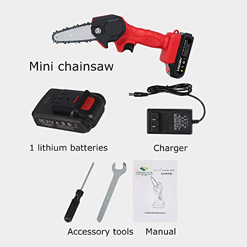 Laecabv Mini Chainsaw 4-Inch Cordless Electric Portable Chainsaw, One-Hand 0.7kg Lightweight, Battery-Powered, Pruning Shears Chainsaw for Tree Branch Wood Cutting (4inch, Black)