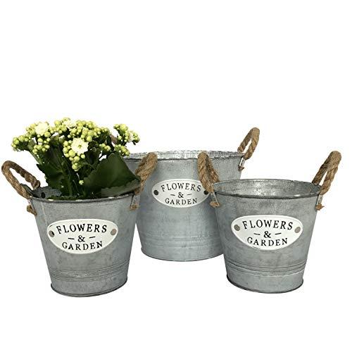 """3 runde Blumentöpfe, Eimer aus Zink und Schriftzug """"Flowers & Garden"""" - Garten Blumentopf Set (2 kleine, 1 großer Eimer P15)"""
