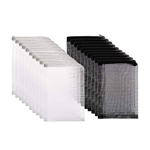 Tagaremuser 20 stücke Aquarium Filterbeutel Media Mesh Filterbeutel mit Reißverschluss für Aktivkohle, Biospheres (10 stücke Schwarz + 10 stücke Weiß)