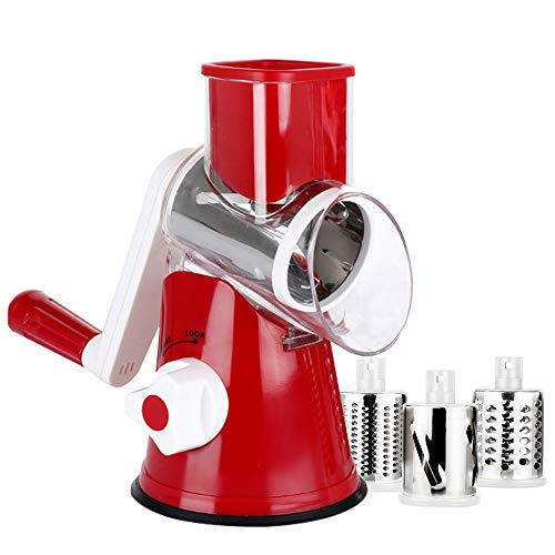 Manual Rotary Cheese Grater - Round Mandoline Slicer with Strong Suction Base, Vegetable Slicer Nuts Grinder Cheese Shredder (Rotary Grater -Red)