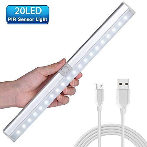 LED Sensor Licht mit 20 LED, LED Lichtleiste batterie, Schrankleuchte mit Bewegungsmelder, 3 Modi Intelligente LED Küchenleuchte, Unterbauleuchte für Kleiderschrank, Flur, Treppe, Küche, Keller