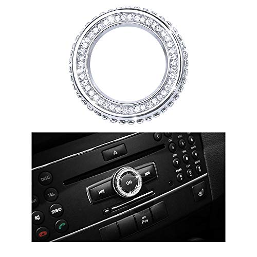 1797 Compatible Volume Knob Cap for Mercedes Benz Accessories Parts Bling W204 W213 C117 C E CLA GLA GLE Class Media Control Covers Decals Stickers Interior Decorations AMG Women Men Crystal Silver