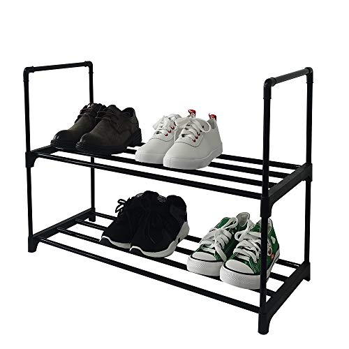 JZHHRPP skohylla 2-nivås skohylla enkel skohylla montering skohylla litet skoställ svart skoställ (svart, 2 nivåer)