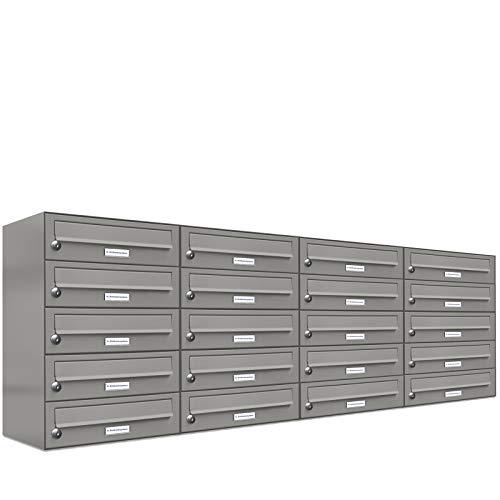 AL RAL 9007 - Sistema de buzones (20 unidades, aluminio, DIN A4, 20 compartimentos), color gris