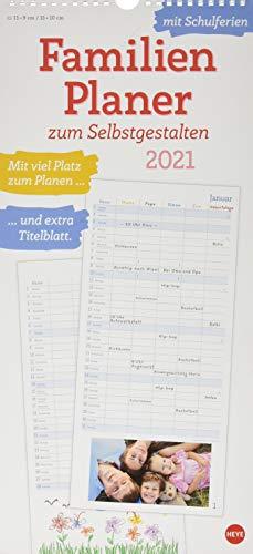 Familienplaner 2021 zum Selbstgestalten - Bastelkalender mit Monatskalendarium, Titelblatt zum Selbstgestalten, viel Platz für Notizen und mit Schulferien - Format 21 x 45 cm