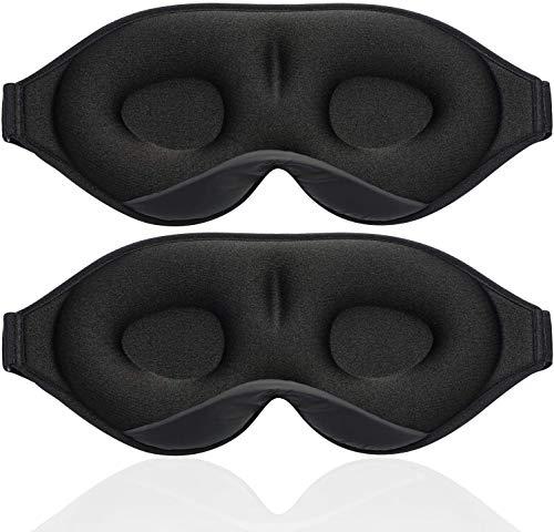 Unimi 2Pack Black/Grey Upgraded Sleep Eye Mask for Women Men,2020 Soft Eye Mask 3D Contoured Cup Sleep Mask & Blindfold,100% Black Out Light Sleeping Mask for Travel, Nap, Yoga